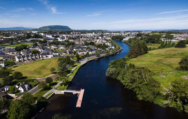 Aerial photo of Garavogue River and Sligo Town