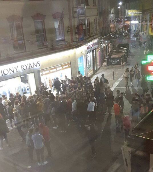 Images circulating on social media of crowds of young people gathering and drinking at various locations in Galway.