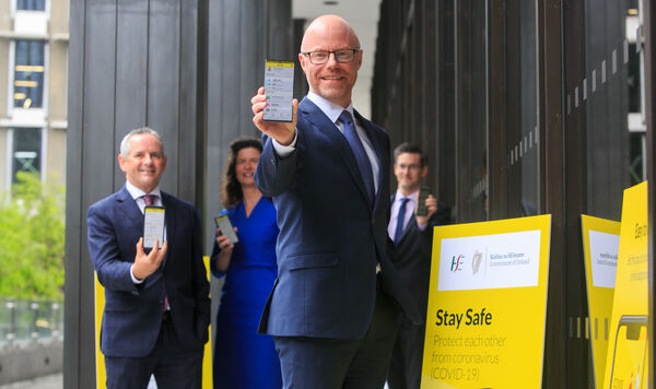 Minister for Health Stephen Donnelly at the launch of the COVID Tracker App.