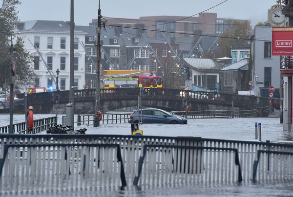 A car in the flood water at Fr. Matthew Quay in Cork. Picture Dan Linehan
