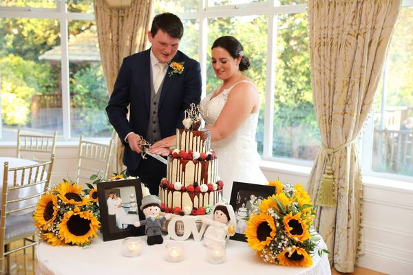 Mairéad Dineen and Kieran O'Brien — and their special knitted bride and groom