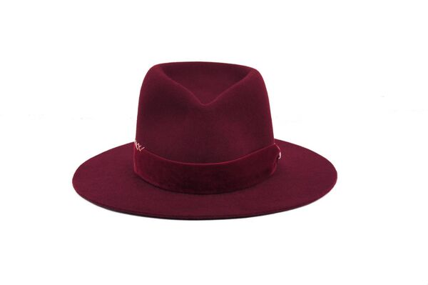Burgundy Hat, €255, FAO Millinery