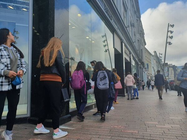 Queues outside Penneys on Patricks Street, Cork before Lockdown. Picture: Liz Dunphy