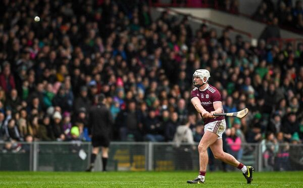 Joe Canning of Galway scores a free during the Allianz League match against Limerick. Picture:  Diarmuid Greene/Sportsfile