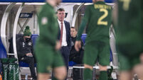 Stephen Kenny speaks to his team during the game 14/10/2020