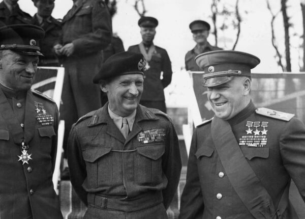 From left to right, Konstantin Rokossovsky, marshal of the Soviet Union (1896-1968), British field Marshal Bernard Montgomery (1887-1976), and Marshal Georgy Zhukov (1896-1974), head of the Soviet delegation at the end of the Second World War, at the Brandenburg Gate in Berlin, July 13, 1945. Picture: Fred Ramage/Keystone/Getty Images