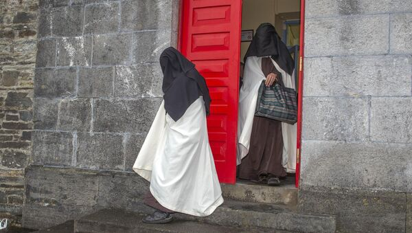 Sr Irene Gibson, Carmelite Nun of the Holy Face of Jesus pictured leaving Skibbereen District Court with Sr Anne Marie of the Holy Family Carmelite Hermitage, Leap, Co Cork