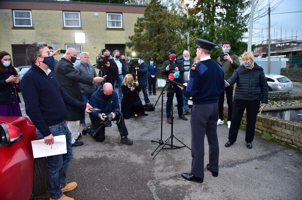 Superintendent Adrian Gamble speaking at the Garda press conference outside Kanturk Garda Station, North Cork. Picture Dan Linehan