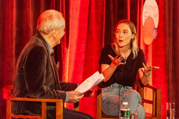 Actor Saoirse Ronan at the 2019 Fastnet Film Festival,  Schull, West Cork, with Festival  Chair John Kelleher. Picture: Andy Gibson.