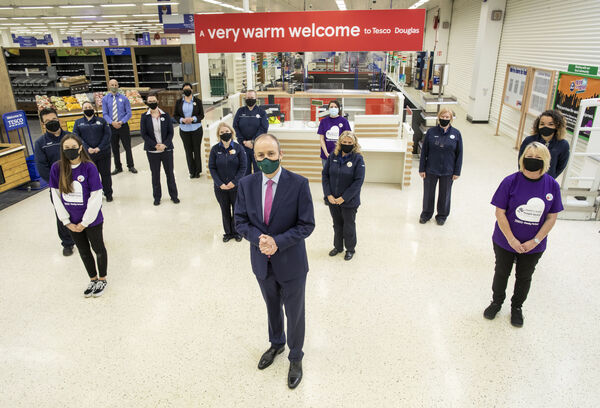 An Taoiseach Micheál Martin in Tesco's Douglas store to announce new jobs. The store is on track to reopen on November 12. File picture: Cathal Noonan