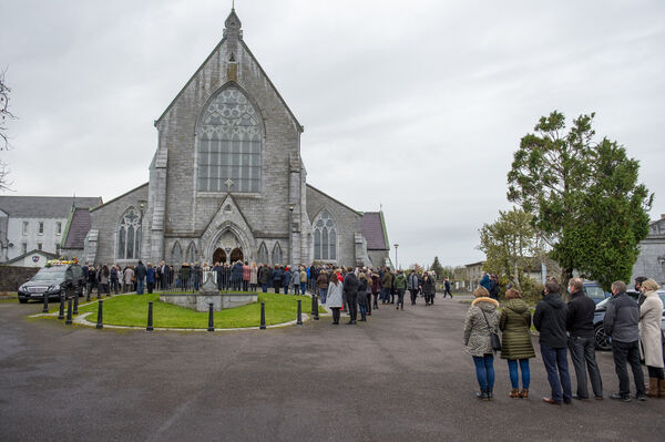 The funeral cortege about to leave the Church of the Immaculate Conception, Kanturk, Co Cork for the funeral mass for the late Mark O'Sullivan. Picture Dan Linehan
