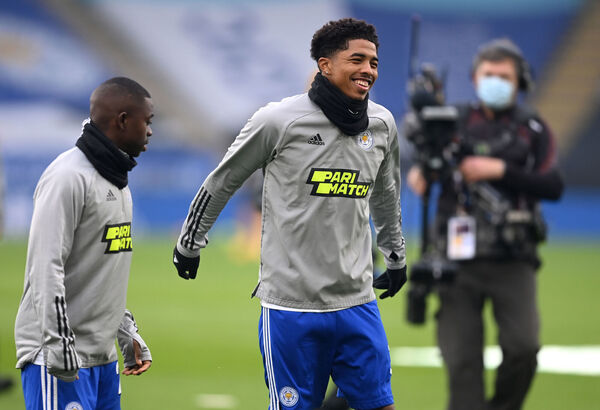 Leicester City's Nampalys Mendy (left) and Wesley Fofana warming up.