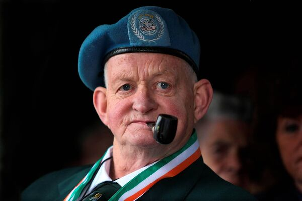 Joe Fitzpatrick, from Cabra, at a parade ceremony, in celebration of 50 years of Defence Forces Peacekeeping, in McKee Barracks, Dublin, in 2008. Picture: Kenneth O'Halloran/PA Wire