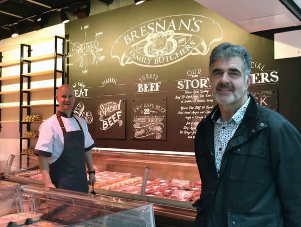 Patrick Breslin, Breslin butchers and Niall Marron at Douglas Village Shopping centre which has re-opened. Picture: Eddie O'Hare