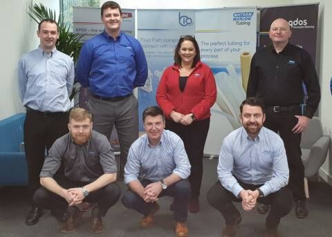 Standing (left to right) Martin Foran, Aflex Applications Engineer; Robert Hall, Aflex Sales Engineer; Catherine Heffernan, Senior Supply Chain Analyst; Paul Harbison, Sales Engineer. Front (left to right) Sean Falvey, Applications Engineer; Denis Coll, Biopharm Sector Manager – Ireland; Graham Doyle, General Manager, Watson Marlow Ireland.