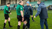 Liam Sheedy speaks to Johnny Murphy after the game 21/11/2020