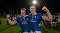 Padraig Faulkner and Killian Clarke celebrate beating Donegal in the Ulster Final 22/11/2020