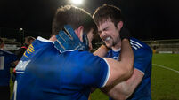 Killian Brady and Thomas Galligan celebrate beating Donegal in the Ulster Football Final 22/11/2020