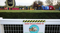 General view of Covid-19 sign at the parade ring at Down Royal Racecourse 31/10/2020
