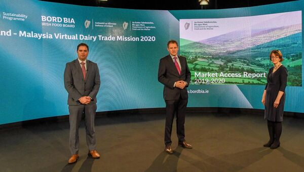 Minister of State with special responsibility for New Market Development, Martin Heydon, TD, and Minister for Agriculture, Food and the Marine, Charlie McConalogue, TD, and Assistant Secretary Sinéad McPhillips at the launch of the 2019 Market Access Report, November 2020.