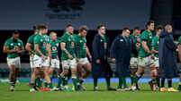 The Ireland team dejected after the game 21/11/2020