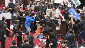 Taiwanese politicians throw pig guts and punches in parliament