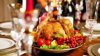 Closeup image of served Christmas dinner table