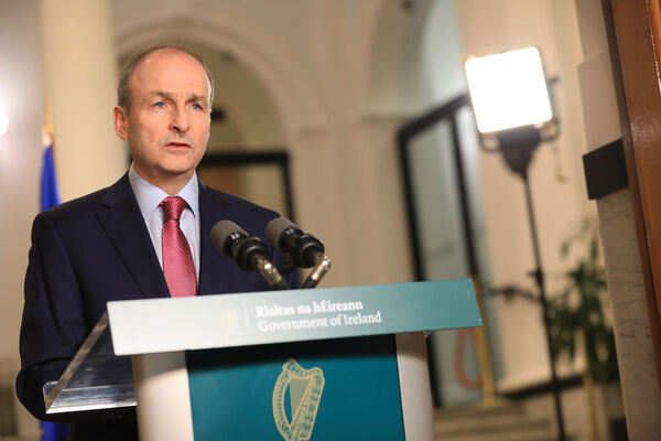 Taoiseach Micheál Martin addresses the nation. Picture: Julien Behal
