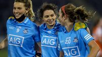 Jennifer Dunne, Noelle Healy and Siobhan Killeen celebrate after the final whistle 28/11/2020