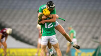 Gearoid Hegarty celebrates with Tom Morrissey at the final whistle 29/11/2020