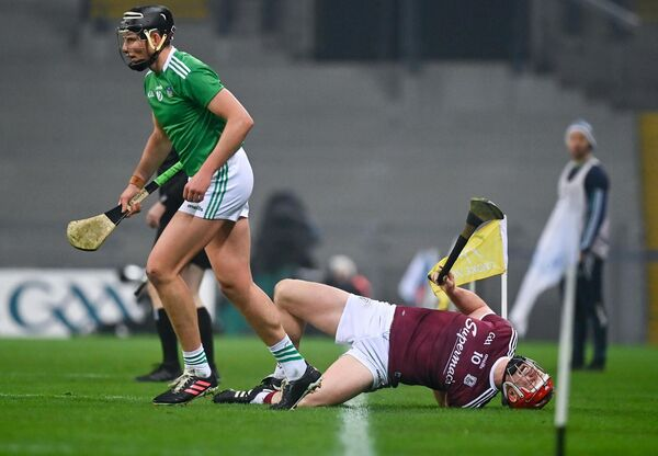 Joe Canning of Galway after a coming together with Gearoid Hegarty of Limerick. Picture: Eóin Noonan/Sportsfile