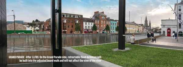 Grand Parade - After LLFRS: On the Grand Parade side, retractable flood defences will be built into the adjusted board walk and will not affect the view of the river