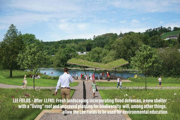 "The Lee Fields after the LLFRS: Fresh landscaping incorporating flood defences, a new shelter with a ""living"" roof and improved planting for biodiversity will, among other things, allow the Lee Fields to be used for environmental education"