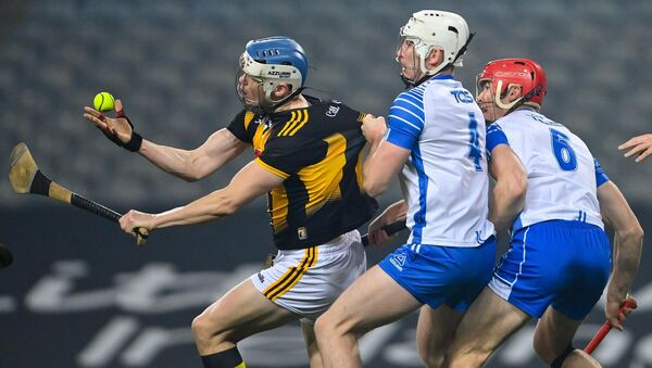 TJ Reid of Kilkenny in action against Shane McNulty, left, and Tadhg de Búrca of Waterford during the All-Ireland semi-final. Picture: Ramsey Cardy/Sportsfile