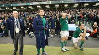 Brian O'Driscoll, Mick Kearney, Devin Toner and Cian Healy watch the last minutes of the game  24/11/2013