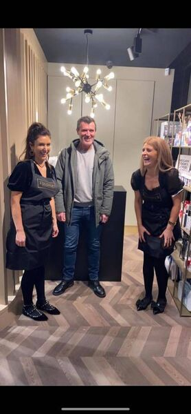 Roy Keane shares a joke with sisters, Hayley and Ciara