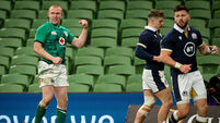 Keith Earls celebrates after scoring a try 5/12/2020