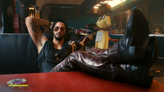 <p>Keanu Reeves' character Johnny Silverhand in the video game 'Cyberpunk 2077'.</p>