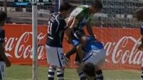 Striker's piggy back leads to a bit of handbags in Uruguay