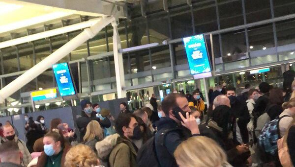 Passengers flying from the United Kingdom to Ireland were waiting for news of their flights following the government's decision to ban travel this afternoon.  Image: Rachael Scully