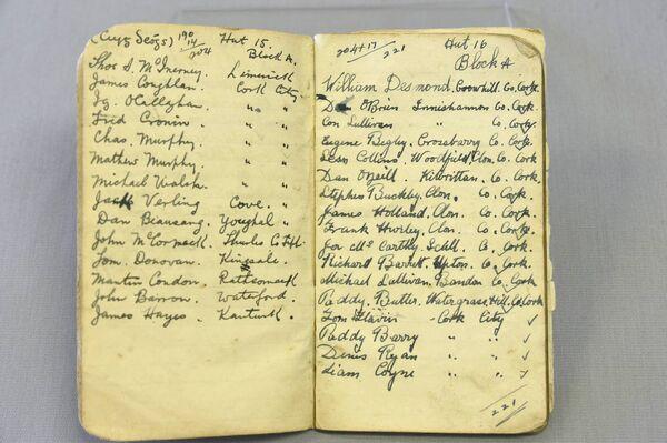 A Notebook of prisoner names. Picture: Larry Cummins