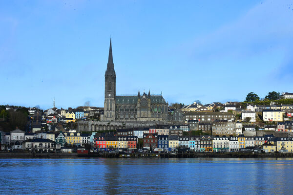 St Colman's Cathedral and the harbour town of Cobh, Co. Cork viewed from just offshore.