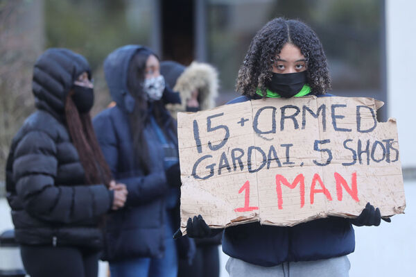 Friends of George Nkencho protest outside Blanchardstown       Garda station. Picture: Niall Carson/PA Wire