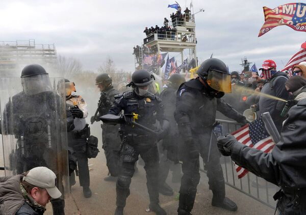 Trump supporters clashed with police and security forces as they stormed the US Capitol in Washington, last week. Picture: Joseph Prezioso/AFP via Getty Images