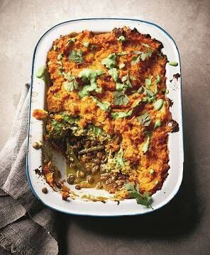 Cottage Pie with Sweet Potato Mash and Coriander Drizzle