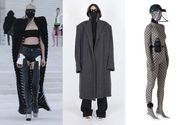 Marine Serre, Balenciaga and Rick Owens are a few decorationg their runways with masks. Picture: Vogue