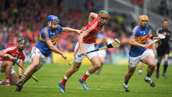 Stephen McDonnell of Cork in action against John McGrath of Tipperary during the 2017 Munster semi-final. Picture: Brendan Moran/Sportsfile