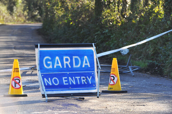 A Garda cordon in place at the scene of the investigation at Shanty Path at Roxborough, near Midleton, Co Cork. Picture: Larry Cummins