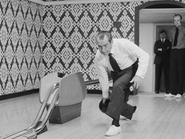 President Richard Nixon in the White House's bowling alley. Picture: Getty Images