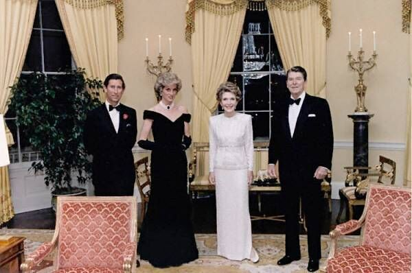 The Reagans with Prince Charles and Princess Diana in the Yellow Oval Room. Picture: White House Museum